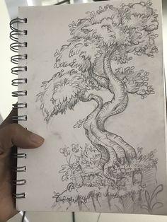 Just for fun Scenery Drawing Pencil, Tree Drawings Pencil, Art Drawings Sketches Simple, Pencil Sketches Of Nature, Tree Pencil Sketch, Eye Drawings, Pencil Sketches Simple, Drawing With Pencil, Easy Nature Drawings