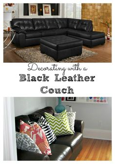 Black Leather Couch Decorating Ideas - These living room ideas featuring a black leather couch are so colorful and fun. | Mom Fabulous