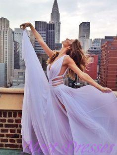 Simple Prom Dress 2015 New Fashion A line V neck Slit Lavender Chiffon Evening Dresses For Teens - Thumbnail 2