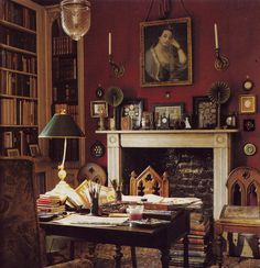 Room of the Day ~ deep red office with fireplace, gothic chairs, library, art… William Morris, Gothic Chair, Red Office, English Country Decor, English Country Houses, Design Apartment, English House, English Library, Country Style Homes