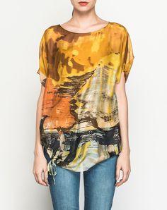 #AdoreWe #VIPme Blouses & Shirts - SAINTY Yellow Silk Crew Neck Abstract Printed Elegant Blouse - AdoreWe.com