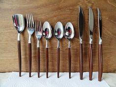 9 Pcs Ekco Epic Canoe Muffin Wood Handles Forks Knives Spoons Shovel EXC Cond   eBay