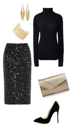 Sequin Skirt Outfit, Black Sequin Skirt, Black Dress Outfits, Winter Skirt Outfit, Skirt Outfits, Vegas Outfits, Club Outfits, Black Sequins, Classy Party Outfit