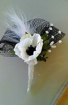New Anenome Corsage Black White Crystaldesigner Guest Prom Wedding Party