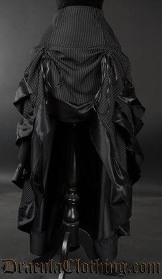 Pinstripe Layer Bustle Skirt - Ladies Clothing