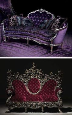 Dark Victorian Purple and Red Sofas                                                                                                                                                                                 More