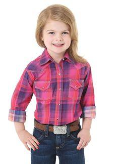 d89f7cd0b0dee Wrangler Girl's Pink & Purple Shirt GW4531K. Young's  Discountwesternwear.com · Kids Western Wear ...