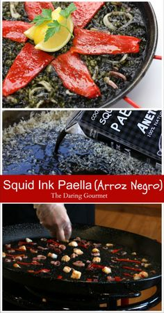 Squid Ink Paella (Arròs Negre/Arroz Negro) - The Daring Gourmet Best Seafood Recipes, Entree Recipes, Grilling Recipes, Dinner Recipes, Paella Recipe, Jambalaya Recipe, Main Course Dishes, How To Cook Fish, Baked Fish