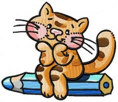 Dreamy kitten machine embroidery design. Machine embroidery design. www.embroideres.com