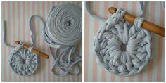 Welcome back to my world of wool! Here is a new tutorial for make a carpet with trapillo. I used three coils trapillo, tw. Crochet Carpet, Wool Carpet, Tee Shirt Rug, Homemade Rugs, Crochet Garland, Crochet Rug Patterns, Patterned Carpet, Poufs, Knitting Projects