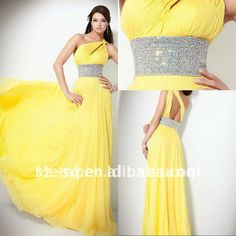H0875 Hot One Shoulder Beaded One Shoulder Yellow Prom Dress-in Prom Dresses from Apparel & Accessories on Aliexpress.com