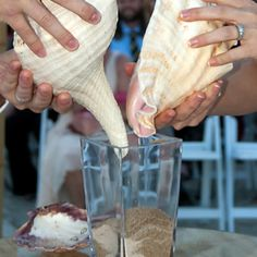 We used real Conk shells instead of vases to pour the sand :) Wedding Sand, Chic Wedding, Dream Wedding, Wedding Ideas, Party Wedding, Wedding Stuff, Sand Ceremony, Wedding Ceremony, Vow Renewal Beach