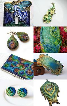 Polymer Clay treasury with a peacock theme. Polymer Clay Canes, Fimo Clay, Polymer Clay Projects, Polymer Clay Creations, Clay Beads, Polymer Clay Earrings, Clay Crafts, Biscuit, Clay Design