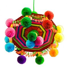 Pająk - Colorful Folk Chandelier made of straws, tissue paper and wool