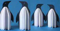 Name: kirigami Penguins Design: Hana Vyoralová www. Winter Crafts For Toddlers, Animal Crafts For Kids, Winter Kids, Winter Art, Art For Kids, Easy Canvas Painting, Painting For Kids, Penguins And Polar Bears, Snow Theme