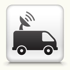 Royalty free vector icon button with Satellite Truck Icon vector art illustration
