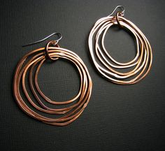 Copper Earrings - Shiny finish - Layered rings - hoop earrings - light weight. $25.00, via Etsy.