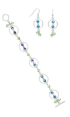 Jewelry Design - Bracelet and Earring Set with Swarovski Crystal Beads and Sterling Silver Links - Fire Mountain Gems and Beads