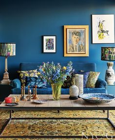 Tour the Vibrant Amsterdam Home of Artist Mariska Meijers - New York Cottages & Gardens - December 2018 - New York, NY Drawing Room Blue, Colourful Living Room, Couch Set, Simple Interior, Interior Decorating, Interior Design, Interior Architecture, Contemporary Decor, Living Room Designs