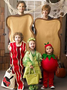 HAHA - BLT is this first one.  Still need some costume inspiration last minute? Check out these incredibly creative costumes that get the whole family involved! They're sure to garner more than a few smiles and laughs when your family hits the street this year!