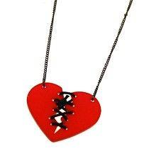 Rood gehechte gebroken hart ketting - Emo