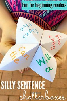 Beginning Reader Games: Silly Sentence Chatterboxes. Have a laugh while revising high frequency sight words and interest words with early readers. Reading Games, Reading Strategies, Kids Reading, Teaching Reading, Fun Learning, Teaching Ideas, Reading Response, Reading Fluency, Kids Writing