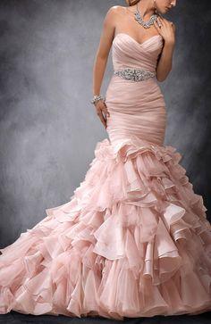 Custom Design | Pleated Sweetheart Beading Ruffles Mermaid Wedding Gowns