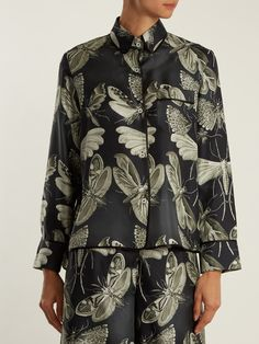 cc31eb1a2171 Moth-print silk-twill pyjama shirt