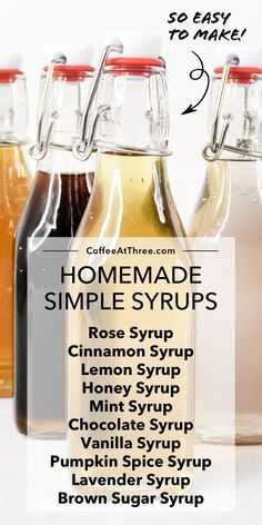 Fun Drinks, Yummy Drinks, Alcoholic Drinks, Cocktails, Beverages, Simple Syrup Recipe Drinks, Tea Syrup Recipe, Make Simple Syrup, Mixed Drinks