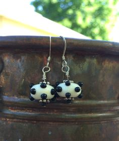 Destash Earrings Sale  Cute Polka Dot Lampwork by Tilliegirlstudio