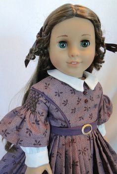 Civil War Dress with hand smocked Sleeves for AG dolls  by dancingwithneedles on Etsy $55.00