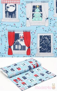 blue cotton fabric with windows, Christmas trees, Christmas lights etc., very high quality fabric, typical great Ink & Arrow quality, Material: 100% cotton #Cotton #Items #Christmas #USAFabrics