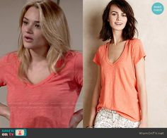 Anthropologie Cut-Out Slub Tee Coral worn by Hunter King on The Young & the Restless