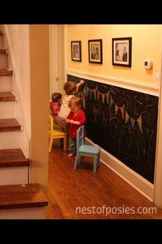 Hallway, black chalk paint, lower half wall