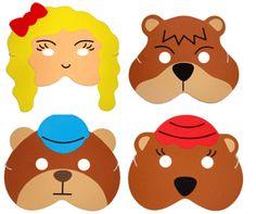 maskers voor de dramatisatie van goudlokje en de drie beren