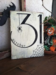 October 31 - Halloween - Hand Painted Wooden Sign - Spider and Web / black and white home decor