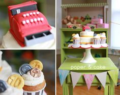 A real grocery store birthday party! How cute! Love that register birthday cake and money cupcakes! See more party ideas at CatchMyParty.com. #birthdaypartyideas