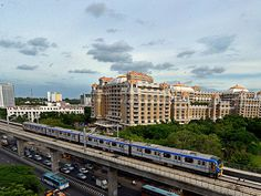 Chennai Metro Rail train runs on the tracks between the Airport and Little Mount
