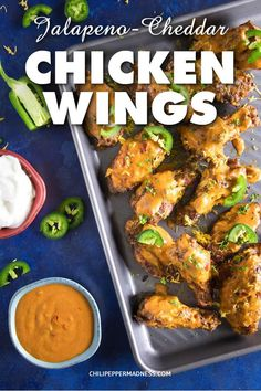 Jalapeno Cheddar Chicken Wings - Recipe | ChiliPepperMadness.com #chickenwings #hotwings #spicyfood #PartyFood #dinner #spicy #jalapeno #appetizer #recipe #wings