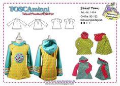 1K4 E-Book Shirt Toni Gr. 92-152 von TOSCAminni E-Books und Schnittmuster für Kindermode auf DaWanda.com