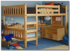 desk bunk bed combo | FULL size loft bed w/desk underneath