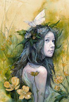 Summer Maiden Pagan greetings card