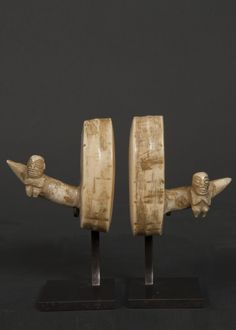 Pair of man's ear ornaments Ha'akai Marquesas Islands. Carved tooth 19th century Ex collection Paul Chadourne