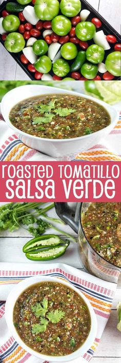 Roasted Tomato Salsa Verde: fire roasted tomatillos and cherry tomatoes pair beautifully with spicy jalapeno, onion, and garlic in this non-traditional salsa verde. A little sweet, a little tangy, a little spicy - all delicious. {Bunsen Burner Bakery} via Tomatillo Salsa Verde, Roasted Tomatillo Salsa, Salsa Picante, Salsa Verde Recipe Roasted, Chili Verde Recipe, Tomatillo Sauce, Spicy Salsa, Mexican Dishes, Mexican Food Recipes
