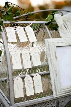 escort card display romantic garden wedding st michaels maryland Paige Elizabeth Photography 275x412 Garden Inspired Wedding Reception on Marylands Eastern Shore: Patty + David