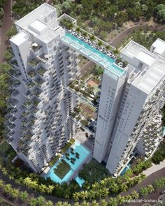 Designed by Canada-based architect Moshe Safdie, the 'Sky Habitat' is an incredible two-tower residential building in Singapore. Pool Bridge, Sky Bridge, Tower Bridge, Futuristic Architecture, Amazing Architecture, Architecture Design, Singapore Architecture, Hotel Architecture, Chinese Architecture