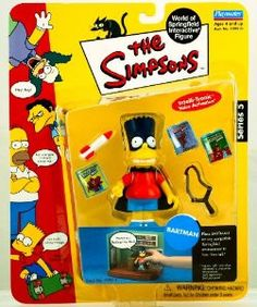 The Simpsons Bartman Bart Simpson World of Springfield Interactive Action Figure Playmates New in Package New in Box