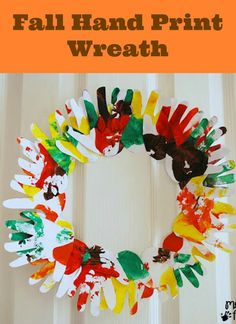 Might be a fun class craft to make a Fall Hand Print Wreath to display in the classroom