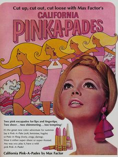 Max Factor vintage lipstick ad. white and pink  were the hottest buy