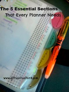 Giftie Etcetera: 5 Essential Sections That Every Planner Needs